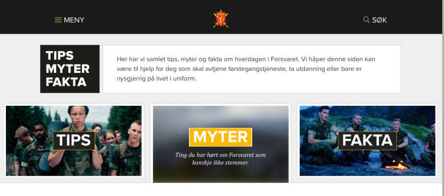 Skjermdump fra https://forsvaret.no/tips-myter-fakta